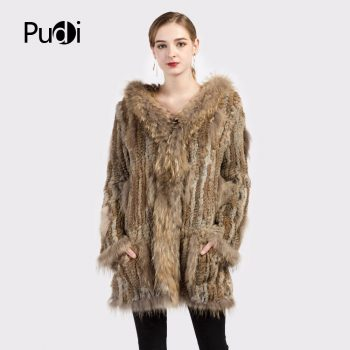 CT7010  Women knitted real genuine real rabbit fur coat overcoat jackets garment & raccoon collar with hood 80 cm length