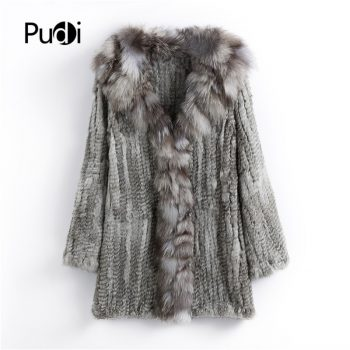 CT903 Pudi 2019 new autumn women genuine rabbit fur coat with real fox fur collar lady casual coat free shipping
