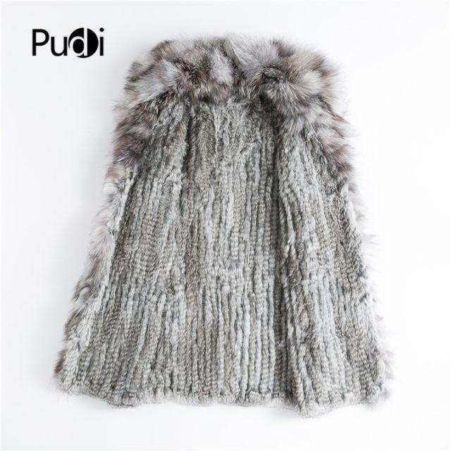CT903 Pudi 2019 new autumn women genuine rabbit fur coat with real fox fur collar lady casual coat free shipping