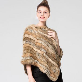 Winter Autumn Women Girl Poncho Real Knit Rex Rabbit Fur Shawl Stole Shrug Cape Robe Tippet Wrap Off-season Clearance bat capes
