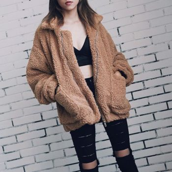Elegant Faux Fur Coat Women 2019 New Arrival Warm Soft Zipper Fur Jacket Female Plush Overcoat Pocket Casual Teddy Outwear