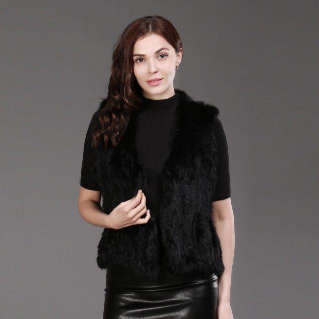 Women Genuine Knitted Rabbit Fur Vests Fashion Knit 100% Real Rabbit Fur Gilet Wholesale and Tetail Sleeveless Rabbit Fur Coat
