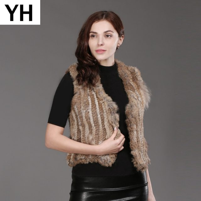Women Genuine Knitted Rabbit Fur Vests Fashion Knit 100% Real Rabbit Fur Gilet Wholesale and Tetail Sleeveless Rabbit Fur Coat