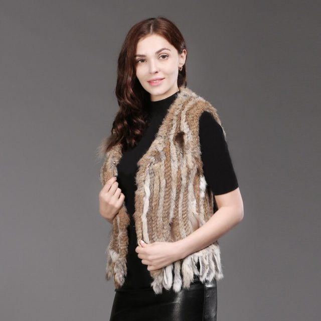 New Women Knitted Real Rabbit Fur Vests Fall Winter Warm Real Natural Rabbit Fur Gilets Casual With Tassel Rabbit Fur Waistcoats