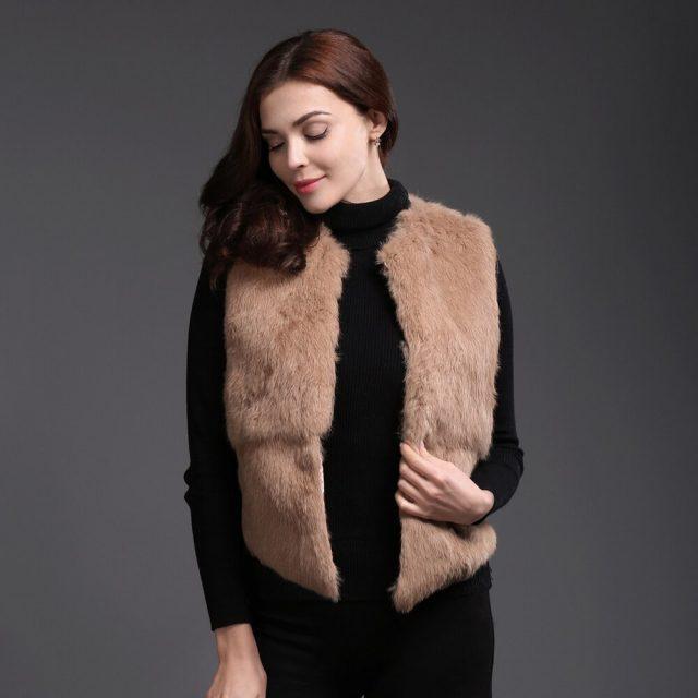 2019 New Style Autumn Winter Genuine Full Pelt Real Fur Vest Short Women Real Rabbit Fur Gilet Natural Rabbit Fur Waistcoat