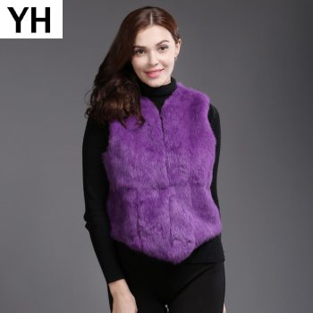 2019 New Style Autumn Winter Genuine Full Pelt Real Fur Vest Short Women Real Rabbit Fur Gilet Natural Rabbit Fur Waistcoat