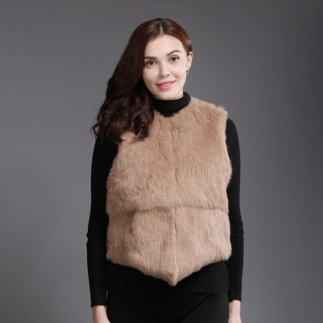 2019 Brand Real Rabbit Fur Short Style Vest Winter Lady Real Natural Rabbit Fur Gilet New Casual Women Real Rabbit Fur Waistcoat