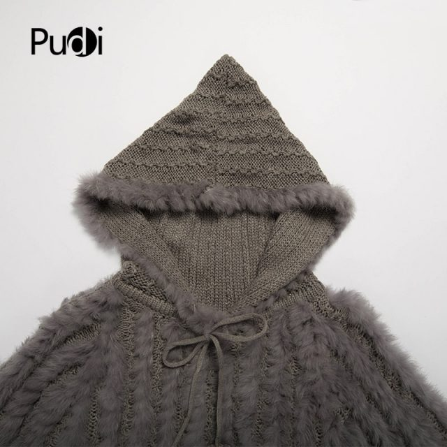 CT7023 The new fashion Rabbit fur knitted coat Russian women's sweater  with hood grey