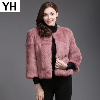 2019 Hot Sale Autumn Winter Genuine Full Pelt Real Rabbit Fur Jacket Women Real Rabbit Fur Coat Casual Slim Rabbit Fur Overcoat