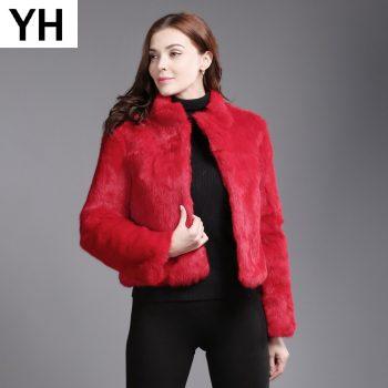 New Winter Genuine Full Pelt Real Fur Jacket Women's Design Rabbit Fur Coat Natural Wholeskin Fur Coats Slim Rabbit Fur Outwear