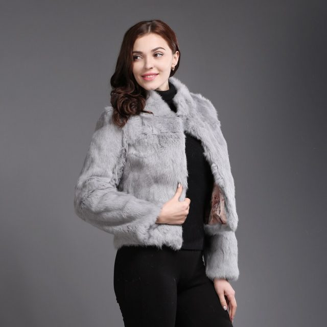 New Winter Genuine Full Pelt Real Fur Jacket Women's Design Rabbit Fur Coat Natural Wholeskin Fur Coats Slim Rabbit Fur Outwear