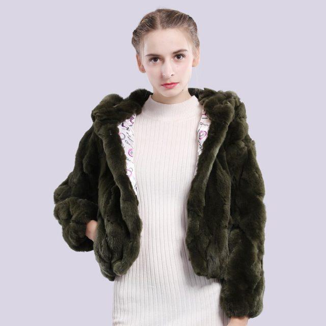 2019 Women Hooded Real Rex Rabbit Fur Coat Real Rex Rabbit Fur Jacket Real Natural Rex Rabbit Fur Overcoat Retail Wholesale
