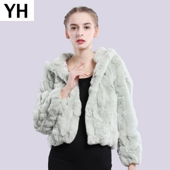 2019 Women Hooded Real Rex Rabbit Fur Coat Real Rex Rabbit Fur Jacket Real Natural Rex Rabbit Fur Overcoat Retail Wholesale