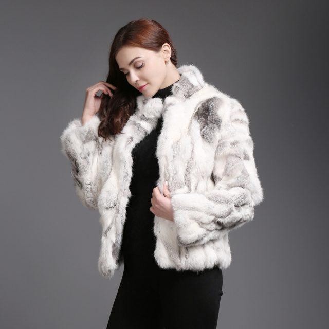2019 Hot Sale Women Genuine Real Rabbit Fur Coat Lady Winter Warm Real Natural Rabbit Fur Jacket Casual Real Rabbit Fur Overcoat