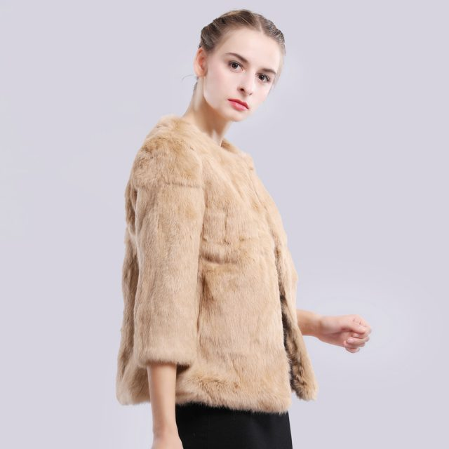 2019 New Autumn Winter Genuine Full Pelt Real Fur Jacket Women Real Rabbit Fur Coat Natural Fur Coats Slim Rabbit Fur Overcoat