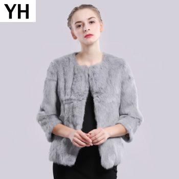 2019 New Autumn Winter Genuine Full Pelt Real Fur Jacket Women Real Rabbit Fur Coat Natural Fur Coats Slim Rabbit Fur Overcoat
