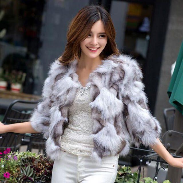 Hot Sale Women Real 100% Natural Fox Fur Jacket Lady Genuine Real Fox Fur Outerwear Short Style Slim Fashion Real Fox Fur Coat