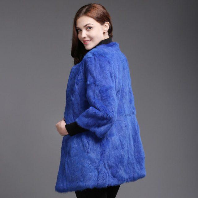 2019 New Autumn Winter Genuine Full Pelt Real Rabbit Fur Jacket Women Real Rabbit Fur Coat Slim High Quality Rabbit Fur Overcoat