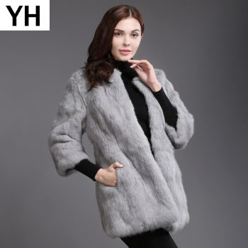 2019 New Autumn Winter Genuine Full Pelt Real Rabbit Fur Jacket Women Real Rabbit Fur Coat Slim High Quality Rabbit Fur Overcoat