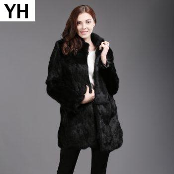 2019 Winter Genuine Full Pelt Real Rabbit Fur Jacket Women Design Rabbit Fur Coat Standing Collar Slim Real Rabbit Fur Overcoat