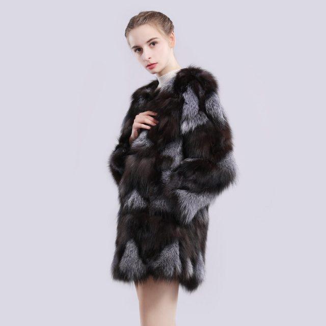 2019 Autumn Winter Natural Color Real Sliver Fox Fur Jacket Women Fashion Real Sliver Fox Fur Coat 100% Genuine Fox Fur Overcoat