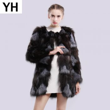 2019 Autumn Winter Natural Color Real Sliver Fox Fur Jacket Women Fashion Real Sliver Fox Fur Coat 100% Genuine Fox Fur Overcoat