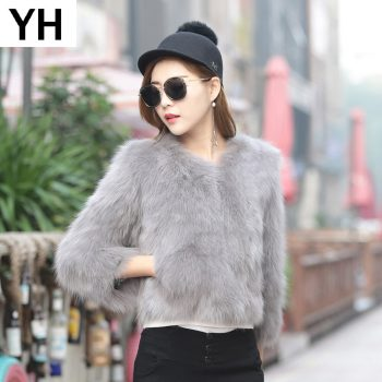 2019 Women High Quality Real Genuine Fox Fur Coat 100% Real Genuine Fox Fur Jacket Short Winter Fashion Fox Fur Outerwear Coat