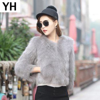 2019 Women High Quality Real Genuine Fox Fur Coat 100% Real Genuine Fox Fur Jacket Short Winter Fashion Fox Fur Outerwear Coat
