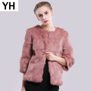 Hot Sale Autumn Winter Genuine Full Pelt Real Fur Jacket Women Real Rabbit Fur Coat Natural Fur Coats Slim Rabbit Fur Overcoat