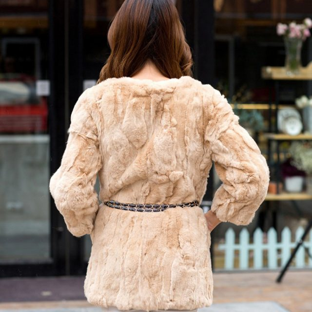 2019 Lady Autumn Winter Genuine Real Rex Fur Jacket Women Long Style Rex Rabbit Fur Coat 100% Natural Rex Rabbit Fur Overcoat