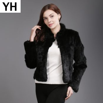 Genuine Full Pelt Real Fur Jacket Women New Design Real Rabbit Fur Coat Natural Rabbit Fur Coats Slim Real Rabbit Fur Overcoat