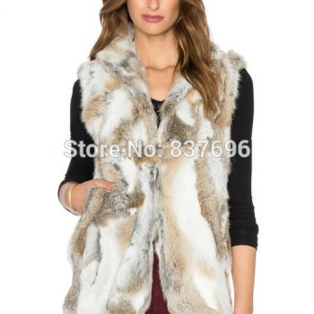 Fashion Style Really Rabbit Fur Vest Patched Real Fur Women Winter Autumn Outwear