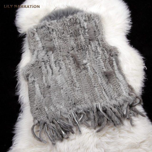 HSPL Fur Vest Real Rabbit Women Gilet With Fur Trimming Tassels Female Waistcoat Lady Real Fur Gilet Colete Feminino De Inverno