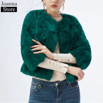 Winter New Real Rabbit Fur Short Fur Jacket Women Crew Neck Slim Warm Fur Coat Ladies Furry Thick Casual Plus Size Black Jackets