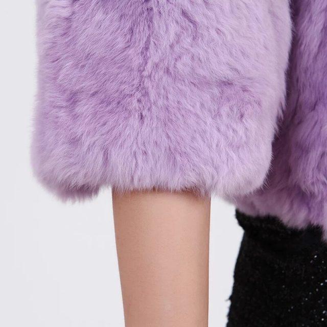 Winter New Real Rabbit Fur Short Fur Jacket Women Crew Neck Slim Warm Fur Coat Ladies Furry Thick Casual Plus Size Black Jackets