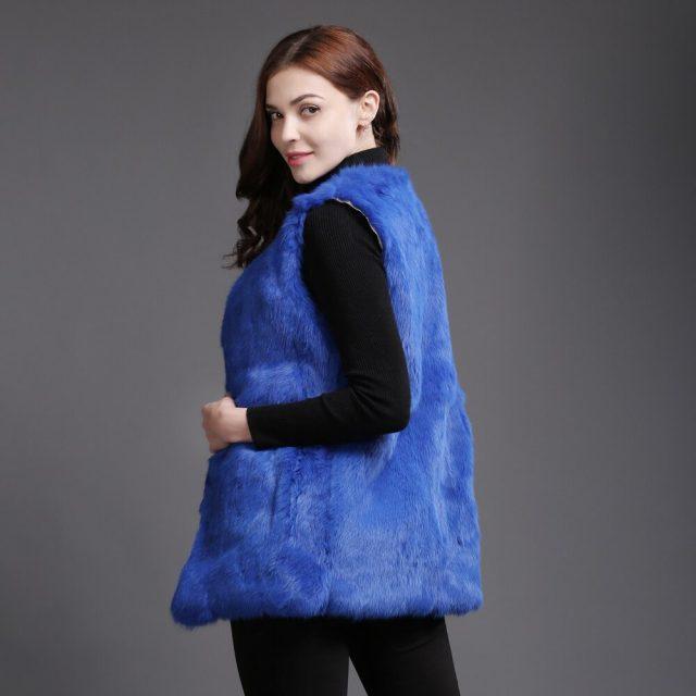 2019 New Autumn Winter Genuine Full Pelt Real Fur Waistcoat Women Real Rabbit Fur Sleeveless Coat Real Natural Rabbit Fur Vest