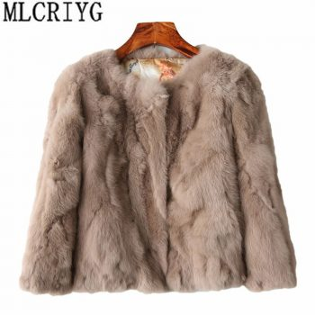 MLCRIYG 2019 Genuine Fur Jacket Women's Real Rabbit Fur Coat Female O-Neck Fashion Short Winter Warm Natural Fur Coats YQ240