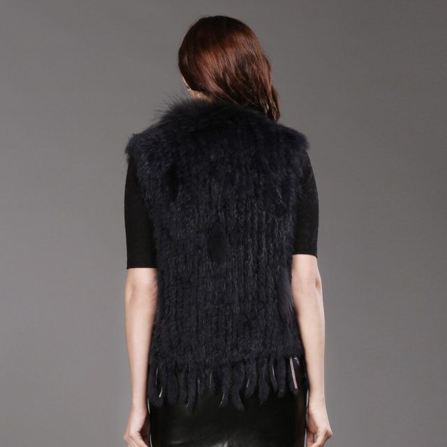 Party Brand Women Genuine Real Knitted Rabbit Fur Vest Tassels Raccoon Fur Trimming Collar Waistcoat Real Rabbit Fur Gilet Coat