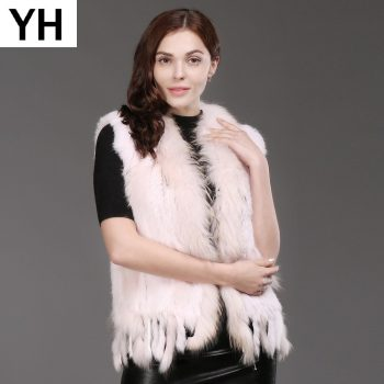 Hot Women Natural Real Rabbit Fur Vest Spring Autumn Knit Tassel Real Rabbit Fur Gilet Genuine Real Raccoon Fur Collar Waistcoat