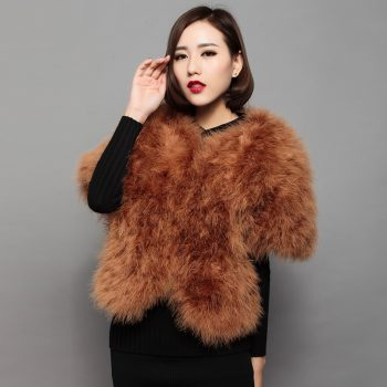 Sweet fur coat of natural ostrich feather fur fashion women autumn winter style bat sleeved brown 5colors jacket 55cm long V15