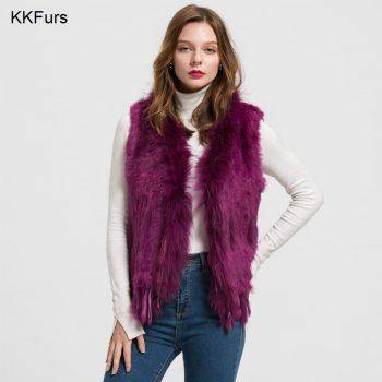 JKKFURS 2019 Women Gilet Rabbit Real Fur Vest Raccoon Fur Collar Lady Winter Warm Fur Fashion Top Quality Waistcoat Ladies S1700