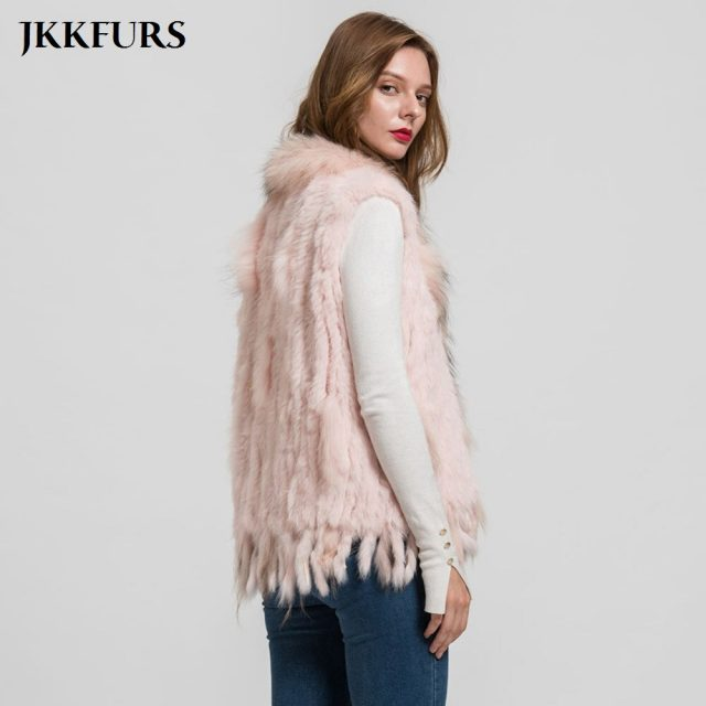 Women's Knitted Gilet Rabbit Real Fur Vest Raccoon Fur Collar Lady Winter Warm Fur Fashion Top Quality Waistcoat Ladies S1700