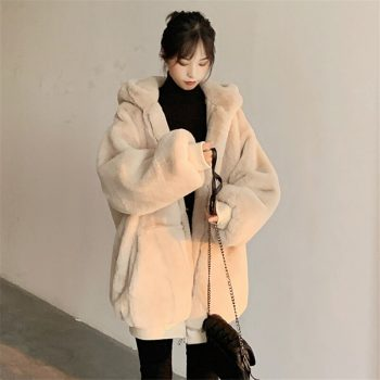 2020 faux fur jacket women's clothing winter outerwear coats new hooded loose fluffy coat female imitation Rabbit Fur parka