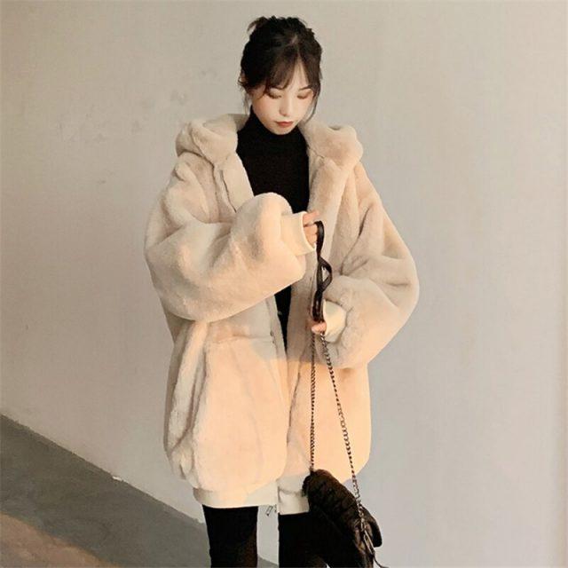 2020 faux fur jacket women's clothing winter outerwear coats new hooded loose fluffy coat female imitation Rabbit Fur parka