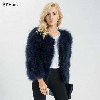 JKKFURS New Women Real Fur Coat  Winter Warm Jacket Genuine Ostrich Feather Fur Indoor Top Quality S1002