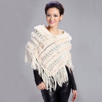WOMENS KNITTED REAL KNITTED RABBIT FUR PONCHOS CAPES  LADIES FURRY STOLES WITH TASSELS FREE SHIPPING