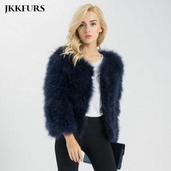 JKKFURS New Women Real Fur Coat Winter Warm Jacket Genuine Ostrich Feather Fur Indoor Top Quality S1002