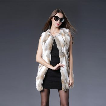2018 O-neck Solid New Long Real Fur Vest Sexy Women Rabbit Coats For Winter Autumn Sale Coat Fashion Outwear High Quality W016