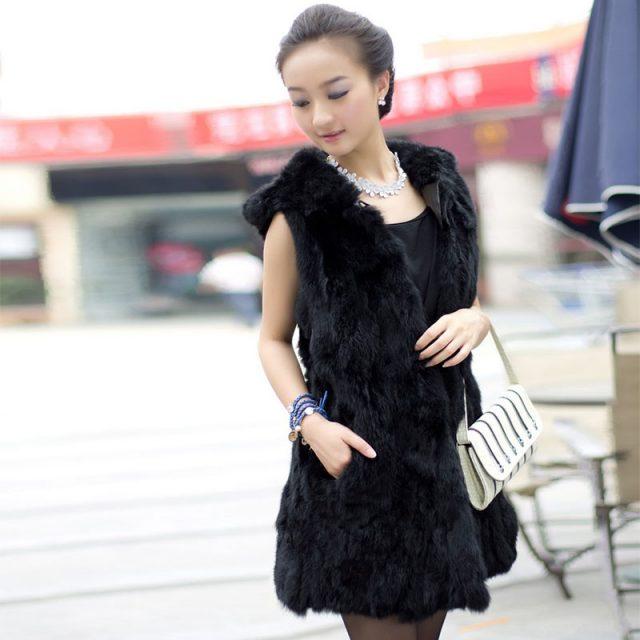 2019 hot sale 100% pure natural authentic rabbit fur vest female hooded long thick warm winter rabbit fur leather natural fur ve