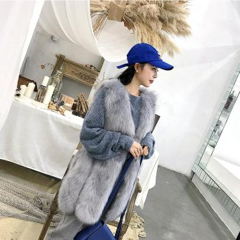 Autumn and winter women's fashion fox fur pure color vest lady's slim v-neck fur vest sleeveless outwear out wear TB3665